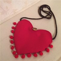 Bolso Cruzado De La Lona Baratos-2015 Baby Girls Heart Tassels Bolsas de lona Kids Girl Cotton Mini Retro Cross-body Shoulder Bag Niños Hangbag