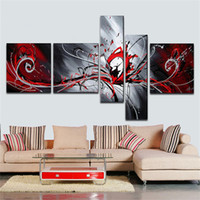 schöne abstrakte ölgemälde großhandel-Abstrakte Kunst Gemälde Moderne Ölgemälde Home Decoration schöne rote Leidenschaft High Q. Abstraktes Wand-Dekor-Ölgemälde auf Leinwand 5pcs / set
