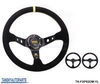 Wholesale Suede Steering Wheels - Tansky -High quality JDM 350mm BLACK YELLOW RED Universal Car Auto Racing Steering Wheel Suede Leather TK-FXP02OM