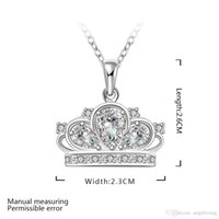 Wholesale Crystal Flower Necklace Clear - Pretty Gift 925 Silver Jewelry Clear Zircon Crown Flower Pendant Necklace Free Shipping