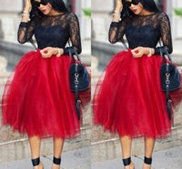 Wholesale Tutu Plus Sizes - Dark Red Short Skirts For Women Lovely Full Tutu Party Dresses Formal Skirt Knee Length Fluffy Plus Size Skirt Maxi Skirt Fast Shipping
