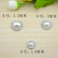 botones de perlas de cristal de moda al por mayor-Moda DIY Cristal Perla Botones Decoraciones planas Rhinestone Perla Botones 16/20 / 22mm elegir nuevo color astilla linda con perla