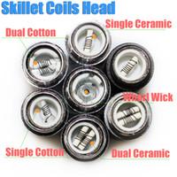 Wholesale Ego Cigatette - Skillet Atomizer rebuildable coils head for skillet Ego D Dual Ceramic Cotton Coil Herbal vapor wax Dry Herb vaporizer pen e cigatette core