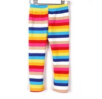 Wholesale Girls Warm Trousers - girls winter fleece warm rainbow leggings child long pants trousers A001