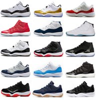 Wholesale Patent Leather Fabric Red - Air retro 11 Basketball Shoes men women high gym red Midnight Navy Metallic Gold Barons university blue low bred concord Varsity Red Sneaker