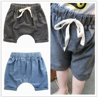 Wholesale middle child clothing - Baby Boys Girls Shorts Casual Harem Pants Pure Color Cotton Middle Pants 2015 Summer Children Harem Pants Kids Clothing 80-110 4pcs lot L560