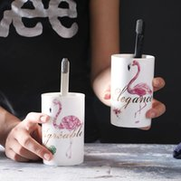 Wholesale Paint For Pottery - 201-300ML Ceramics Flamingo Coffee Mugs Cup Creative Cups 3D Flamingo painting Cup for lovers Flamingo Drinkware TY7-85