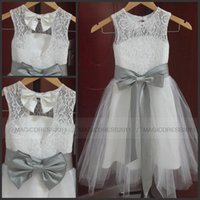 Wholesale Dress Graduation Party Sale - Hot Sale Lovely Vintage Lace Flower Girl Dresses A Line Jewel Neckline Tulle Little Girl Formal Wedding Party Gowns Silver Grey Sash and Bow