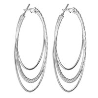Wholesale Large Earrings For Cheap - Wholesale- cheap summer silver plated hoop earring for women wholesale hot sale fashion jewelry gift large size lovely party earring
