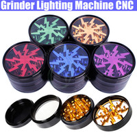 Herbal Grinder Lighting Machine CNC 63mm de diámetro 4 piezas Metal Clear Filtro de diente net Sharp piedra seca vaporizador vapor de la pluma Grinders DHL