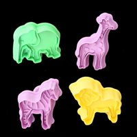 Wholesale fda manual - Cartoon Stereo Cookie Mold Plastic Zebra Elephant Giraffe Lion Shape Cake Mould Manual Press Baking Molds For Home 3 2ty B