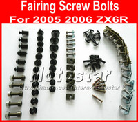 Wholesale kawasaki motorcycle aftermarket parts resale online - Good Professional Motorcycle Fairing screws bolt kit for KAWASAKI ZX6R ZX R black aftermarket fairings bolts screw parts