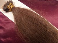 """Wholesale nano ring 1g hair extensions - DHL Free shipping 100% Indian human queen products 5A 14""""- 24"""" 1g s 100s set stick tip nano ring hair extensions 8# light brown"""