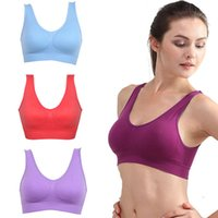 Wholesale Girls Vest Bras - New Women Girls Padded Seamless Sports Bra Vest Tops Rimless Bras S-XXXL