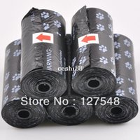 Wholesale Dog Products Free Shipping - Free Shipping 10Roll=200PCS,20pcs roll,22*31cm Degradable Pet Dog Waste Poop Bag With Printing Doggy Bag Dog Products Wholesale
