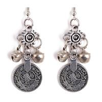 ethnische feste großhandel-Silber türkische Bell Münze Ohrringe Blumenmuster Boho Gypsy Beachy ethnische Tribal Festival Schmuck