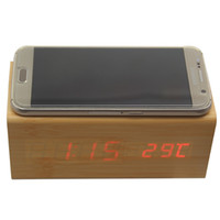 Wholesale Led Timers Clocks - Multifunctional wooden alarm clock wireless charger Wood Cube LED Alarm Clock Thermometer Timer Calendar wireless QI charging for Smartphone