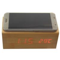 qi ladegerät holz großhandel-Multifunktionale hölzerne Wecker drahtloses Ladegerät Holz Cube LED Wecker Thermometer Timer Kalender drahtlose QI-Aufladung für Smartphone