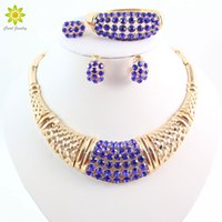 conjunto de colar de casamento de safira venda por atacado-Fine Sapphire Conjuntos de Jóias Para As Mulheres Contas Africanas Partido Pingente De Cristal Colar Brincos Conjunto de Acessórios Do Casamento