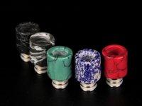 бирюзовые кончики капель оптовых-DHL бесплатно 510 бирюзовый наконечник капельного красивый камень Tophus капельного советы для RDA RBA испарители эго широкий диаметр капельного советы