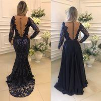 botón de nuevo vestido de noche al por mayor-2018 Más nueva joya de manga larga vestidos de noche con espalda de botones azul marino vestidos formales de noche vestido de fiesta Vestidos de baile