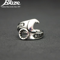 Wholesale Cool Rings For Men - Wholesale-Cool Silver Plated Punk Biker Wrench Man Knuckle Open Rings 316L Stainless Steel 18MM Diameter Jewelry Finger Ring For Mens Gift