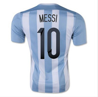 Wholesale Thai Wholesale Soccer Shirts - Customized Thai Quality 2015 -2016 Argentina Home jersey 10 MESSI Football Soccer Tops Jersey,2015 New Soccer Shirts Drop Shipping Accepted,