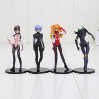 Wholesale Evangelion Pvc - 4pcs set 10cm EVA Neon Genesis Evangelion Ayanami Rei Makinami Asuka PVC Action Figures Toys with box