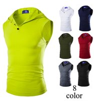 Wholesale Mens Sleeveless Hoodie Vest - fashion mens Sleeveless hoodie undershirt men vests The new personalized color men's hooded stretch cotton bottoming vest Slim fit