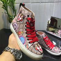 Wholesale European American High Heels - 2017 autumn and winter new European and American style men's shoes leather printed color thick bottom with high-top shoes couple models