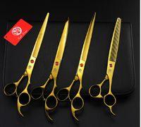 saç makası takımları toptan satış-Yeni varış 8.0 inç 4 adet bir set profeessinal pet altın düz diş Kavisli makas saç makas seti kitleri makas setleri takım pet makas