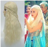 Wholesale Dragon Wig - Cosplay wig Game of Thrones Long Wavy Blonde with braid Cosplay Anime wig Daenerys Targaryen Mother of Dragons Halloween wigs