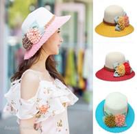 Wholesale Foldable Hats Women - New fashion sun hat women Summer straw bucket hat Floppy Foldable Flower sun beach Cap Top Quality Wholesale G-1