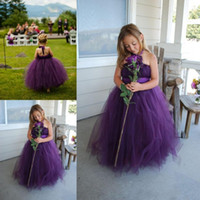Wholesale Long Pageant Gowns Size 3t - 2016 New Cheap Halter Purple Flower Girls Dresses For Weddings Full Length tutu Ritzee Long Girl Pageant Gowns Size Teens Communion Dresses