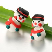 3D Handmade Polymer Clay Lovely Christmas Snowman Red Scarf Stud Earring Para Mulheres Girl Earrings Jóias NE834