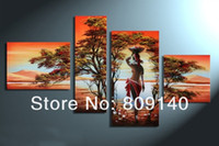 Wholesale Oil Paintings Ship Lake - African Landscape abstract Nude Lady on the lake oil painting handmade Modern home office hotel wall art decor decoration artwork free ship