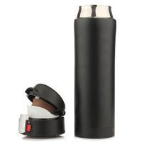 termo de café de té al por mayor-Climbing Szs Hot 500ml Travel Mug Tea Coffee Water Vacuum Cup Thermos Bottle Acero inoxidable Negro con tapa