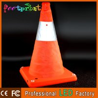 Wholesale Reflective Traffic Signs - Wholesale-Free Shipping! Retractable Traffic Cone With 5 LED Warning Light Road Warning Sign Strong Reflective Material