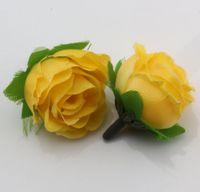 sarı çiçek başları toptan satış-Büyük indirim ! 400 Adet Sarı Çay Gül Çiçek Başkanı Yapay Çiçekler Düğün çiçek 3 cm