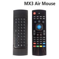 micrófono de aire al por mayor-X8 Air Fly Mouse MX3 2.4 GHz Teclado Inalámbrico Control Remoto Somatosensorial IR Aprendizaje 6 Ejes sin Micrófono para Android TV Box Smart IPTV