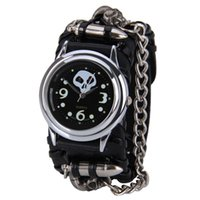 Wholesale Watch Woman Leather Skull - Attractive Punk Rock Chain Cuff Gothic Skull Band Women Men Bracelet Wrist Watch Free shipping OT14