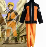 Wholesale games outfit - New Uzumaki Naruto Ninja 2nd Generation Cosplay Uniform emboitement (Tops Jacket Coat + Pants) Full Set Unisex Costume Outfit