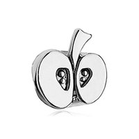 Wholesale China Charms Suppliers - Half alpple European Charm Bead in platinum color plating Fits Pandora Charm Bracelet from China supplier