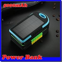 Wholesale External Solar Phone Usb Charger - Wholesale -2015 Hot 5000mAh 2 USB Port Solar Power Bank Charger External Backup Battery With Retail Box For iPhone iPad Samsung Mobile Phone