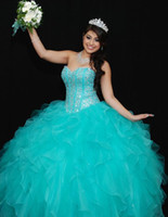 Wholesale Sweetheart Ball Gown Organza Corset - Cheap Sweetheart Quinceanera Dresses 2016 Corset Princess Ball Gowns with Beaded Bodice Turquoise Organza Long Pageant Prom Dresses