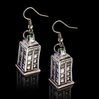 Wholesale Cuff Earrings Pairs - 2 colors Doctor Who Tardis Earrings bronze silver Police Box dangle Ear cuffs Doctorwho earrings women statement jewelry 2pcs=1 pair 170252