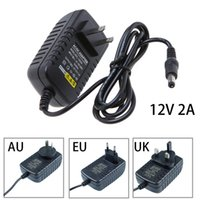 Wholesale 12v Transformer Au - DC 12V 2A Power Supply UK US AU EU Plug Wall Charger Adaptor Charger Switching transformer For LED Strip Light