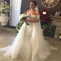 Wholesale Simple Gold Wedding Dres - Off The Shoulder Sheath Wedding Dresses With Train Lace And Tulle Short Sleeves Bridal Gowns Sweep Train Custom Made Country Wedding Dres