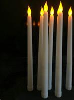 navidad llevó velas de batería al por mayor-11 Quot; Led con pilas Parpadeo Sin llama Marfil Lámparas de vela Taper Stick Vela Navidad Mesa de boda Habitación Iglesia Decoración 28 cm (H)