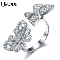 Wholesale Two Butterflies Ring - ring white gold UMODE Selene Series Micro CZ Paved Two Flying Butterfly Between The Finger Ring White Gold Color Jewelry For Women UR0156B
